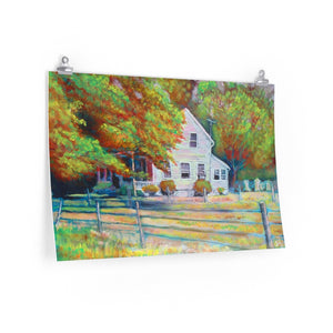 """Fall Homestead, Tx."" Premium Matte horizontal poster print of original acrylic painting"