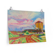 "Load image into Gallery viewer, ""Storm over Rio Grande Water Tank , Antonito, Co."" Premium Matte horizontal poster print of original acrylic painting"