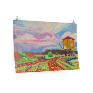 """Storm over Rio Grande Water Tank , Antonito, Co."" Premium Matte horizontal poster print of original acrylic painting"