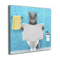 "HIBIPPO Cat Toilet Reading Newspaper Paper Canvas Wall Art Prints Artwork Pictures Wall Decorations for Living Room Kitchen 20""x20"" Ready to Hang"