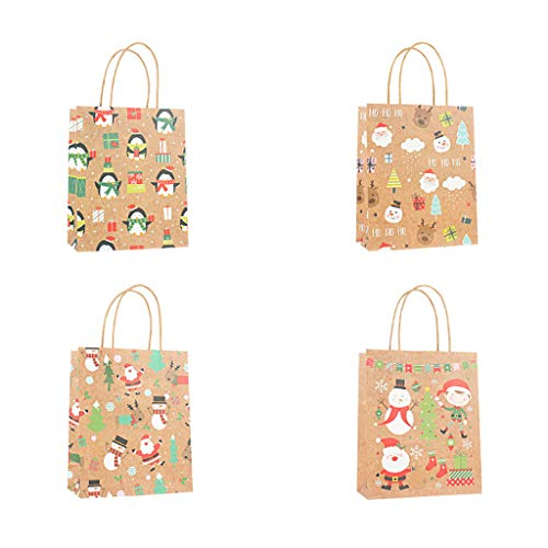 Hohaski Bag Paper Bag Packaging Kraft Paper Bottom Tote Bag 4pcs, Christmas Ornaments Advent Calendar Pillow Covers Garland Tree Skirt Gift Bags DIY