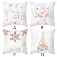 Throw Pillow Covers Pack of 4 - Shan-S Merry Christmas Rose Gold Pink Lettering Printed Square Pillowcases Cushion Cover with Zipper for Bedroom Living Room Sofa Home Decor for Girls and Woman