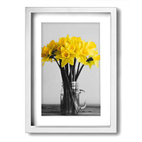 "Ale-art Yellow Gray Modern Abstract Floral Wall Art for Living Room Bedroom Canvas Wall Art Decor Framed Canvas Artworks Prints Giclee Ready to Hang for Home Decoration 16""x20"""