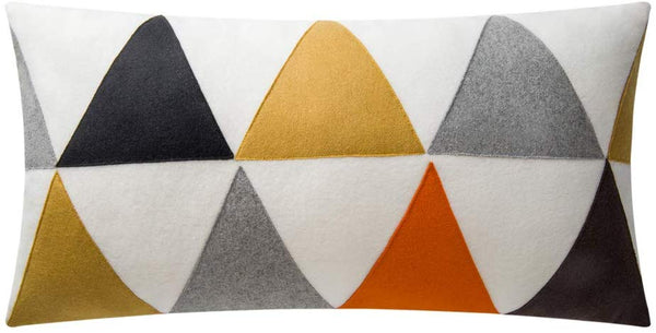 JWH Triangle Accent Pillow Cases Applique Patch Cushion Cover Decorative Cotton Wool Plush Pillowcases Home Couch Bed Living Room Sham Gift 12 x 24 Inch