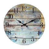 Stonebriar Worn Blue Vintage Coastal 14 Inch Round Hanging Clock, Battery Operated, Rustic Wall Decor for The Living Room, Kitchen, Bedroom, and Patio