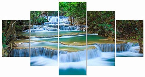 Wieco Art Peaceful Waterfall 5 Panels Large Canvas Paintings Wall Art Modern Gallery Wrapped Landscape Forest Giclee Canvas Print Artwork Photo Pictures for Living Room Bedroom Home Decorations L