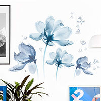 Amaonm Gaint Creative Removable 3D Nusery Flower Wall Decals DIY Romantic Floral Wall Sticker Murals Flowers Art Decor for Kids Girls Teens Bedroom Office Living Room Home Wall Decoration (Light Blue)