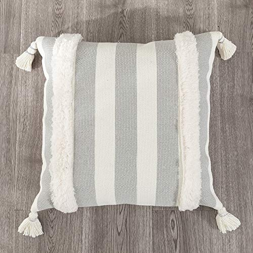 Tiffasea Black and White Throw Pillows Cover, 18x18inch Decorative Cushion Covers Striped for Bed Couch Sofa Bedroom Living Room, Woven Tassels Accent Boho Pillow Sham Modern Farmhouse Pillows Case