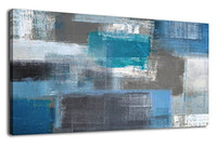 "arteWOODS Canvas Art Prints Abstract Painting Large Canvas Artwork Blue Panoramic Wall Art for Home Office Decoration Framed Ready to Hang 20"" x 40"""