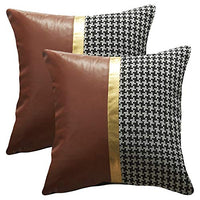 WOMHOPE Set of 4 Modern Houndstooth Decorative Throw Pillow Covers Faux Leather Stitching Gold Foil Pillowcase Toss Shell for Sofa,Couch (Set of 4 (Approx 12 x 20 inches))