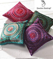 GANESHAM Indian Decorative Handmade Mirror Toss Pillow Cover Floral Pillow Case Decorative Sofa Boho Chic Bohemian Throw Pillow, Sequin Pillow Insert Hand Embroidered Cushion Cover(Set of 4 Piece)