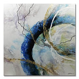 Yihui Arts Canvas Home Artwork Decoration Abstract Pink Blue Watercolor Canvas Wall Art for Living Room (20Wx20L)