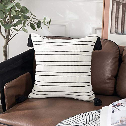 Sungea Decorative Square Throw Pillow Covers 18x18 Inch Black and White Striped Tassel Boho Modern Cushion Case Cover for Couch Bedroom Sofa Bed Home Decor Design