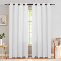 jinchan Ivory Textured Drape for Living Room Curtains Light Filtering Window Treatment Set Bedroom Curtains 72 inches Long Grommets Top Drapes 2 Panels