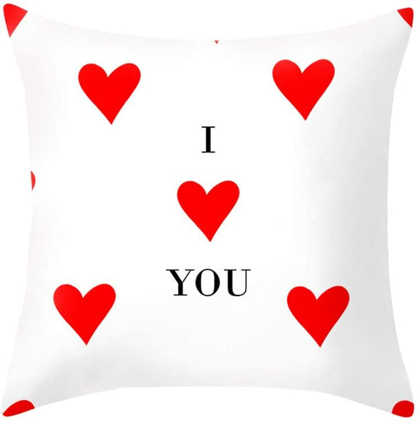 Sodoop Happy Valentine's Day Throw Pillow Covers 18 x 18 Inch Cotton Polyester Love Heart Letter Romantic Printed Pillow Case Square Pillowcases Sofa Bedding Car Cushion Cover Home Room Decoration