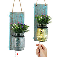 TJ.MOREE Coastal Mason Jar Wall Decor Sconces, Vintage Home Decor with Pull Chain Switch, Seasonal Interchangeable Colorful Flowers and LED Strip Lights Design for Home Living Room Decoration Set of 2