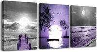 Black and white landscape Canvas Wall Art for Bedroom Bathroom Decorations 3 Piece Framed Canvas prints Artwork modern scenery Blue flower Picture kitchen Home Decoration Living Room Wall Decor