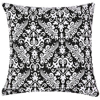 TAOSON Aqua Blue Moroccan Quatrefoil Accent Pattern Cushion Cover Pillow Cover Pillowcase Cotton Canvas Pillow Sofa Throw White Printed with Hidden Zipper Closure Only Cover 18x18 Inch 45x45cm