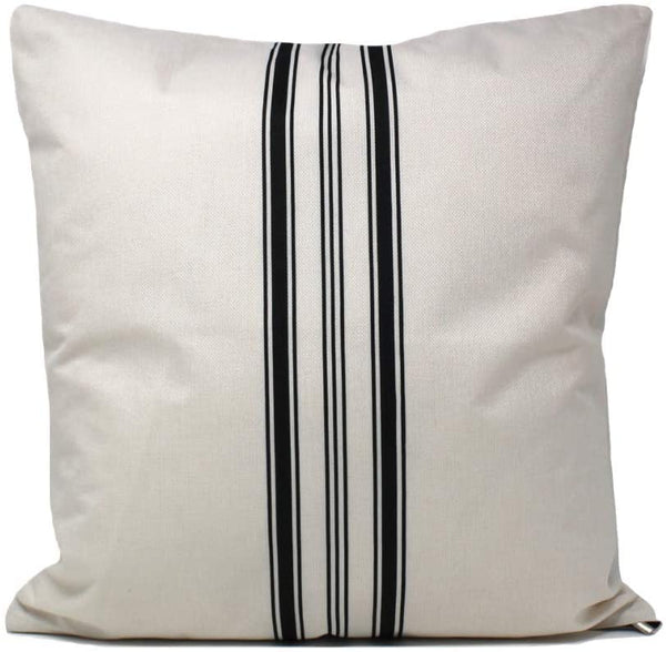 The Southern Jarring Co. Decorative Throw Pillow Covers - 18x18 Farmhouse Cushion Covers for Couch or Bed - Inserts Not Included - (Black Ticking Stripes, 2-Pack)