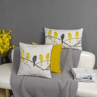 JWH Birds Accent Pillow Case Applique Hand Emobroidery Cushion Cover Wool Decorative Pillowcase Home Sofa Car Bed Living Room Decor Sham Gift 20 x 20 Inch Yellow Birds with Gray Plaid Bird on Branch