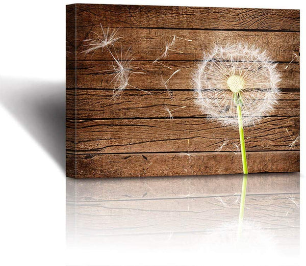 Rustic Home Decor The Dandelion Vintage Wood Background Neutral Floral Picture Stretched and Framed Farmhouse Bathroom Decor Wall Art Canvas wall decoration for bedroom office decoration living room p