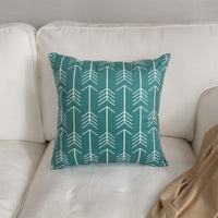 FanHomcy Set of 4 Throw Pillow Covers Geometric Pattern Teal Quatrefoil Arrow Ogee Chevron Luxury Decorative Pillow Cases Home Decor Square 18x18 Inches Pillowcases
