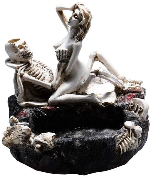 Tvoip Creative Skull Ashtray & Love Skull Beauty Girl Figurine Resin Ashtray Home Table Decor