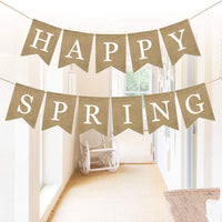 FUNZZY Happy Spring Banners Spring Season Bunting Burlap Garland for Spring Theme Season Banquet Baby Shower Party Decoration