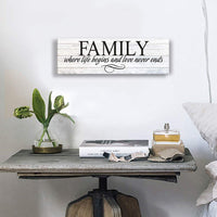 Inspirational Motto Canvas Wall Art,Family Prints Signs Framed, Retro Artwork Decoration for Bedroom, Living Room, Home Wall Decor (5.5 X 16 inch, Family)