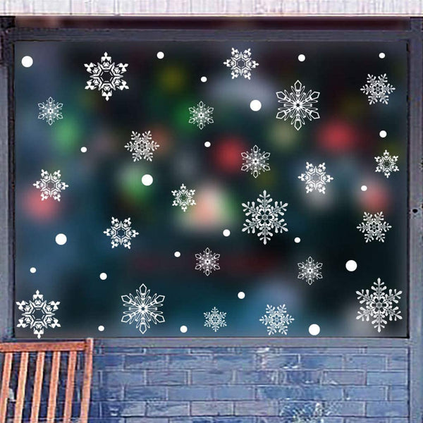 Hohaski Snowflake Decor Christmas Wall Sticker Home DIY Decals For Door And Window, Christmas Ornaments Advent Calendar Pillow Covers Garland Tree Skirt Gift Bags DIY