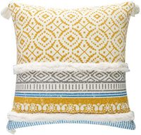 blue page Boho Tufted Decorative Throw Pillow Covers for Couch Sofa - Modern Moroccan Style Pillow Cases with Tassels, Accent Decor Pillow for Bedroom Car Hotel, 18x18 Inches, Yellow