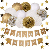 Baby Shower Decorations Neutral for Boy Girl with Burlap Welcome Baby Banner, Paper Lanterns, Tissue Paper Flower Pom Poms, Star Glitter Garland | Rustic Gold and White Gender Reveal Baby Shower Decor