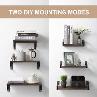 Veken Floating Shelves Wall Mounted Set of 3, Rustic Wood Wall Decor Storage Shelves for Bedroom, Bathroom, Kitchen, Living Room Grey
