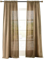 "Valea Home Soft Burlap Natural Tan Rod Pocket Window Curtain Panels for Living Room Patio Door, 37"" x 84"", 1 Panel"