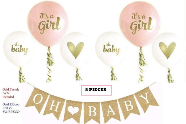 OH Baby Banner & Balloon Set - Pre-Strung Assembled Burlap Garland - 6 Pink Gold & White Balloons - Its A Girl with Hearts - Baby Shower Gender Reveal Decor by Jolly Jon ®