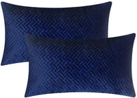 "Artcest Set of 2, Decorative Velvet Bed Throw Pillow Case, Sofa Soft Quilted Pattern, Comfortable Couch Cushion Cover, 12""x20"" (Navy Blue)"