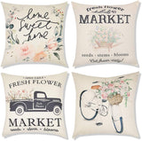 Decorsurface Fall Pillow Covers 18x18 - Set of 6, Thanksgiving Farmhouse Decorative Autumn Theme Throw Pillow Covers for Couch, Sofa, Bed and car, Fall Harvest Home Decor
