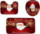 Hohaski 3Pcs Christmas Shower Curtain Bathroom Anti-Slip Carpet Rug Toilet Cover Mat Set, Christmas Ornaments Advent Calendar Pillow Covers Garland Tree Skirt Gift Bags DIY