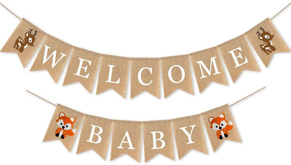 Rainlemon Jute Burlap Welcome Baby Banner Wild Jungle Animal Theme Baby Shower Garland Decoration