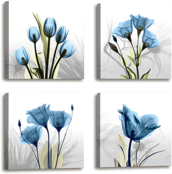 Moyedecor Art - 4 Panel Elegant Tulip Flower Canvas Print Wall Art Painting for Living Room Decor and Modern Home Decorations (Four 12X12in, Blue Flower)
