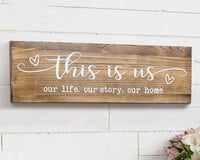 "CHICVITA Rustic Wall Mounted Wood Sign, This is Us Painted Farmhouse Wall Decoration for Living Room Bedroom Entryway Kitchen, 16.5"" x 5.5"" - Brown"