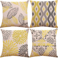 "ZUEXT Set of 4 Double Side Design New Living Series Yellow and Grey Geometric Decorative Throw Pillow Covers Cushion Case 18"" x 18"" 45cm x 45cm for Car Sofa Bed Home Decor(Mix and Match, Abstract Art)"