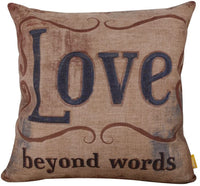 "LINKWELL 18""x18"" Vintage Love Beyond Words Laugh Every Day Burlap Cushion Covers Pillow Case"