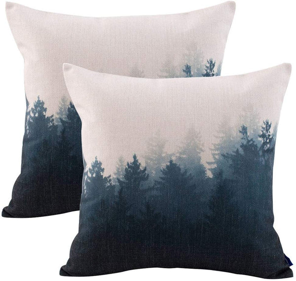 JES&MEDIS Pillowcase 2 Pack Forest Scenery Series Cotton Linen Decorative Square Throw Pillow Covers Cushion Case for Home Sofa Bedroom Office Car 18 X 18 Inch 45 X 45 cm