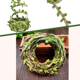 Amlrt 2 Packs Natural Burlap Ribbon, 5MM Jute Twine Artificial Vine Green Leaves Wedding Home Garden, Perfect Braided Burlap Vine for Art & Any Party Décor