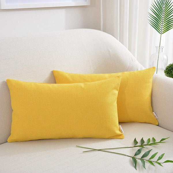 NATUS WEAVER 2 Pcs Decorations Soft Linen Blended Burlap Throw Pillowcase Cushion Cover for Lumbar Rest, 12 x 20 Inch 30cm x 50cm, Bright Yellow
