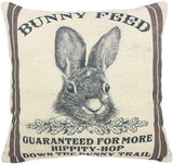 Easternproject Vintage Bunny Feed Sack Cotton Linen Easter Throw Pillow Case Burlap Poultry Decorative Cushion Cover for Home Farmhouse 18x18 Inches (Bunny Feed)