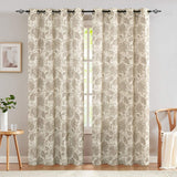 "Paisley Scroll Printed Linen Curtains, Grommet Top - Medallion Design Burlap Vintage Jacobean Floral Printed Curtains Living Room Window Panels (Taupe, 50"" x 95"", One Pair)"