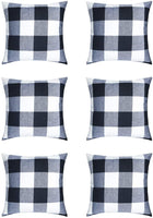 HaiMay 6 Pack 18 x 18 inch Pillow Cover Buffalo Plaid Black White Check Plaid Cushion Decorative Pillows Cotton Linen Throw Pillow Covers