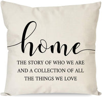 PANDICORN Farmhouse Pillow Covers 18x18 with Words Let's Stay Home and Cuddle for Farmhouse Décor, Rustic Black and Cream Throw Pillow Cases for Living Room Bedroom